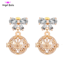 Aromatherapy Earring CZ Butterfly Design Stud Earrings Fragrance Essential Oil Locket Jewelry For Women Gift 16mm EL-003(China)