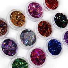 12 Colors 3D Rhombus Shape Glitter Acrylic Nail Art  Salon Sequins Powder  Stickers Tips DIY Decor Decorations  Chic Design 5GJ4