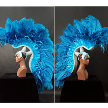 High quality custom made feather headwear Lingerie show play Performance props underwear catwalk Model T station serves props(China)