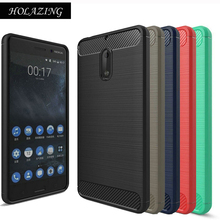 "HOLAZING Glossy Spigen Rugged Soft Armor Case for Nokia 6 5.5"" Resilient Shock Carbon Fiber Design Cover for Nokia6"