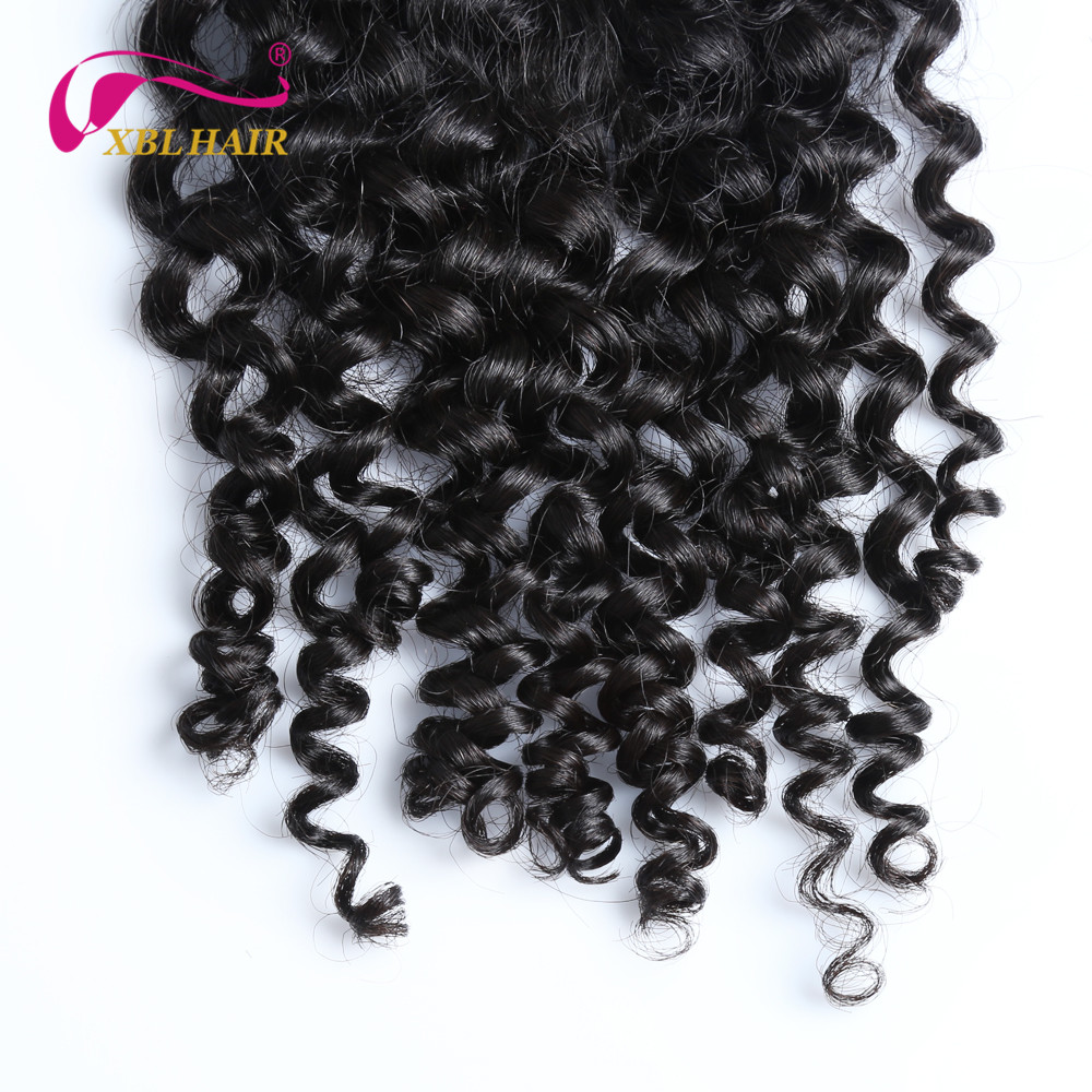 XBLHAIR Curly Lace Closure With Baby Hair Middle Part 130% Density Brazilian Human Hair Natural Color Remy Free Shipping