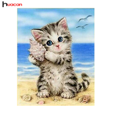 HUACAN 5D Diamond Painting Cross Stitch Diamond Embroidery Cat Full Square Rhinestones Pattern Home Decoration Needle Craft&Art