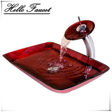 2017 Luxury Waterfall Red Rectangular Hand Paint Bowl basin Tempered Glass Basin Sink With Brass Faucet Bathroom Sink Set Mixer