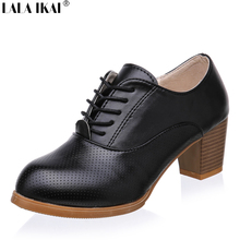 Oxford Shoes for Women Lace up PU Leather Women Shoes Round Toe Women Oxfords Shoes Woman XWB0001-0.5