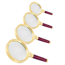 15X 60mm Handheld Reading Magnifier Glass Optical Lens Rosewood Handle Gold Tone Magnifying Glass for Repair--M25