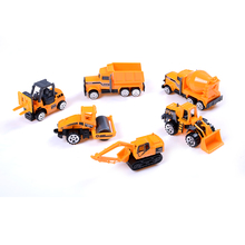 6pcs/set mini Diecasts Car alloy construction vehicle Engineering Car Dump Truck Artificial Model Toys For boy kids