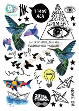 Rocooart A6080-209 Black tatuagem Taty Body Art Temporary Tattoo Sticker Gradient Colorful Birds Eye Shark Glitter Tatoo Sticker(China)