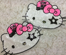3pcs Iron On Sequin Patches Kids Hello Kitty Embroidery Patch For Clothes Accessories Appliques Motif Badge parches para la ropa
