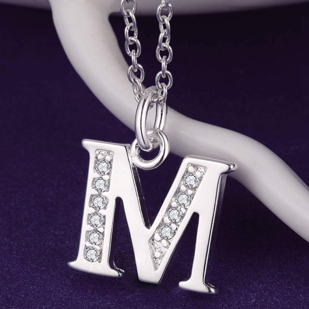 High Quality Letter M Bling Zircon Silver Plated Necklace Silver Pendant Jewelry  /WPKBGPJV IDXKZTQH