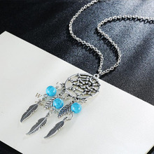 Collier Femme Plume Dreamcatcher Native American Fringe Turquse Beads Necklace Collier attrape reve Colares Boho Chic Collana
