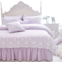 Korean Style Lace Duvet Cover Set Princess Bedding Set 4/6pcs White/Blue/Pink Ruffle Bedspread Bed Skirt Pillowcases 100% cotton(China)
