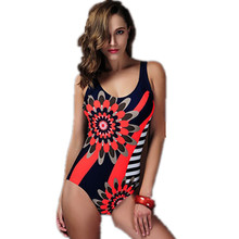 2016 Sexy Plus Size Swimwear One Piece Swimsuit Vintage Floral Print Bathing Suite Swimming Suit for Women Beach Sports Bodysuit(China)
