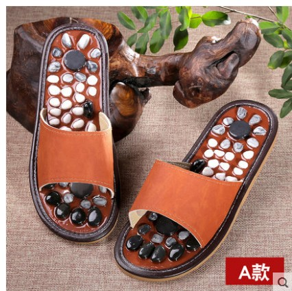 Health care Wooden base acupuncture foot massage slippers natural stone acupoint massage slippers free shipping<br>