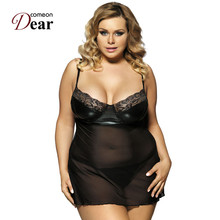 Comeondear New Arrival Sexy Nightwear Black See Through Plus Size Babydoll Rk80094 Price Promotion Temptation Sex Lingerie