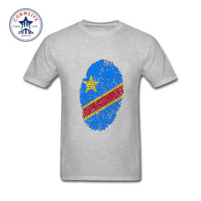 2017 Newest Fashion Funny Congo Flag Fingerprint Funny Cotton t shirt for men