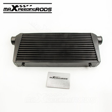 Universal Tube & Fin Turbo Aluminum Intercooler 600x300x76mm 3 IN/OUTLET Front Mount Black Inter cooler(China)