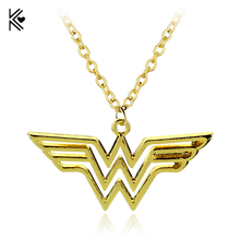 Lowest Price Wholesale 20pcs/lot Superhero Justice League Wonder Woman Necklace Golded Pendant Collares Women Statement Necklace(China)
