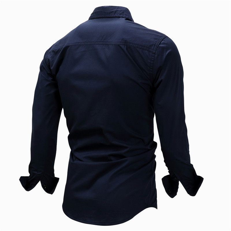Fredd Marshall Fashion Men's Shirts Spring Cotton Solid Color Long Sleeve Male Shirt with Zipper Pockets Camisa Masculina Plus Size (15)
