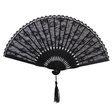 Spanish Victorian Hand Fan for Wedding Party Favor Fancy Dress Black Japanese Folding Pocket Fan