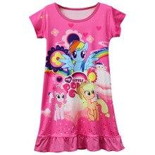 New Hot Sale Baby Girls Pajamas Dress Children Girl Little Pony Dresses Cartoon Unicorn Costume Kids Clothes Summer Clothing