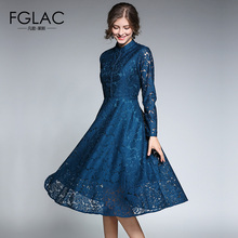 Buy FGLAC Women clothing New Arrivals Long sleeved Stand collar Lace dress Elegant Slim Vintage Party dresses Europe women dresses for $23.91 in AliExpress store