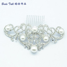 Vintage Inspired Flower Hair Combs With Pearls Austrian Crystal Wedding Hair Comb Accessories Bridesmaid 2937