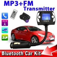 1.5 LCD Bluetooth Car Kit Handsfree Wireless MP3 Player FM Transmitter Steering Wheel Remote USB TF SD MMC for iPhone 5 4 S5