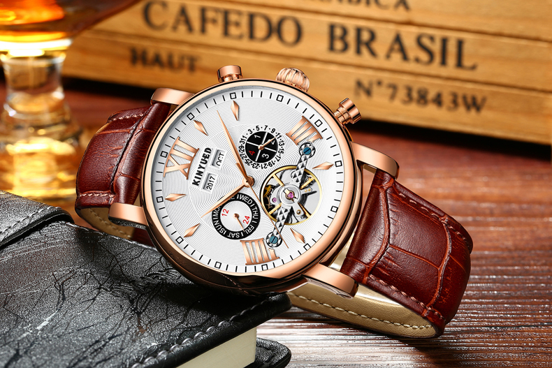 KINYUED Flying Tourbillon Watch Skeleton Men Leather Waterpoof Business Calendar Mens Mechanical Watches Automatic montre homme 9