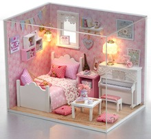 24th DIY Wooden Miniature Doll House Handcraft Model Kits --Girl's Bedroom with furnitures english instruction(China)