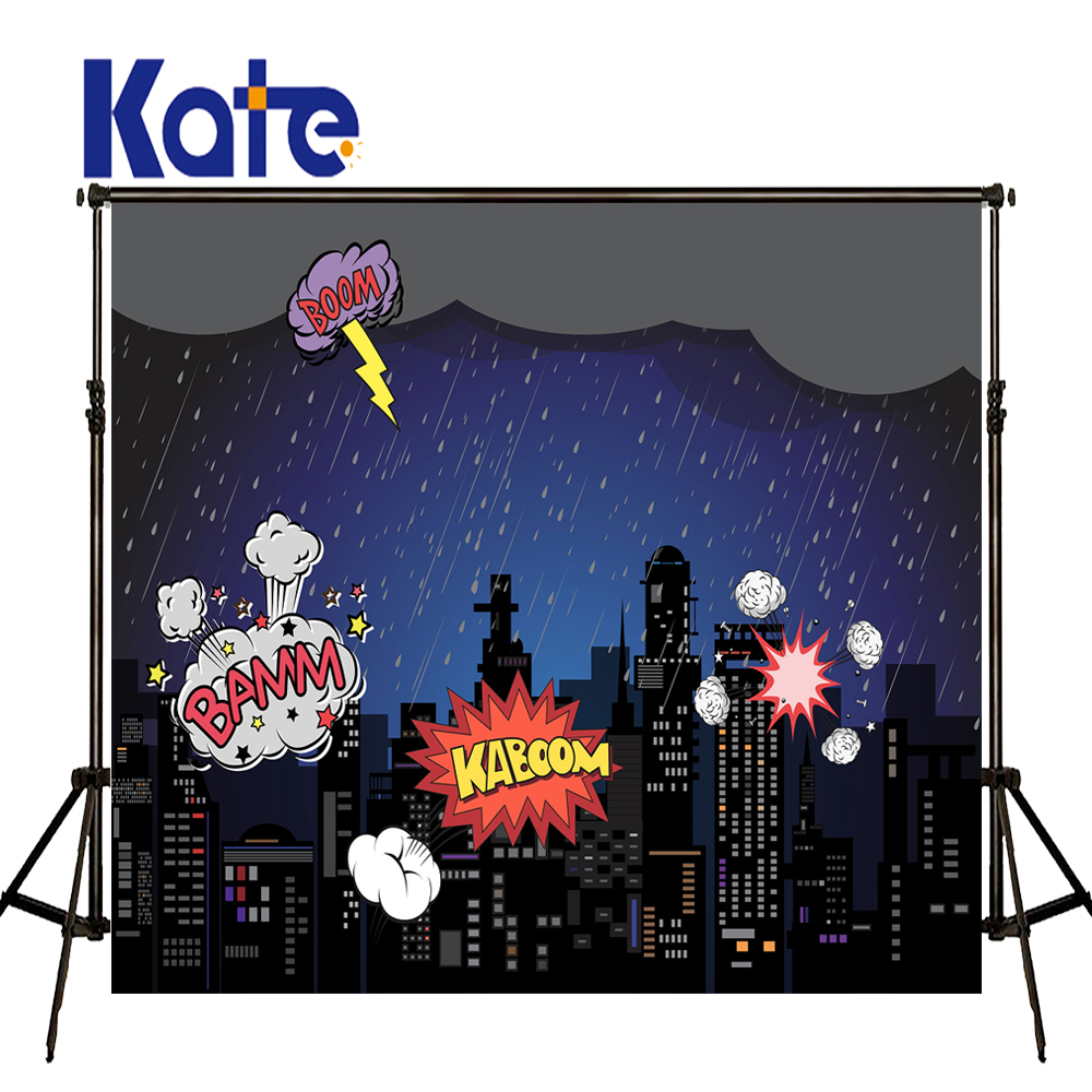 KATE Photography Backdrops 10x10ft Cartoon City Backdrop Children Explosion Letter Background City Night Photo for Studio<br>