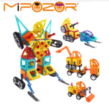 MIPOZOR 162pcs Educational Magnetic Assemble Building Tiles DIY Blocks Bricks Construction Engineering Truck Series Toys