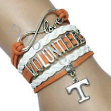 Drop Shipping Infinity Love Tennessee Volunteers NFL Name Team Bracelet Custom Orange with White Braid Leather T Charm
