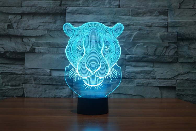 Lion Head 3D Glow LED Lamp Touch Switch Art Sculpture Lights Unique 7 Colors Lighting Effects and 3D Awesome Gift (6)