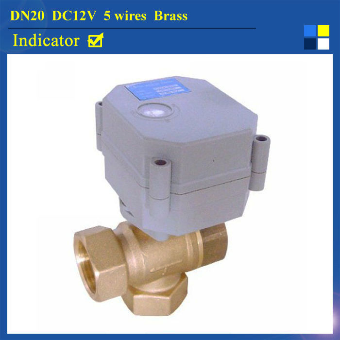 3/4 DC12V 5 Wires TF 3 Way Motorized Ball Valve T Type TF20-B3-C BSP/NPT Brass Electric Ball ValveWith Signal Feedback<br>