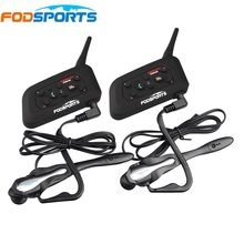 2 pcs V6 Pro BT Interphone Wireless Bluetooth Headset Intercom Suit for Football Referee Judge Bicycle Conference Stereo music(China)