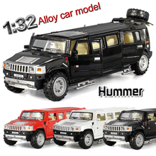 1:32 scale alloy metal car model for hummer limousine luxury truck collection model pull back children toys car(China)