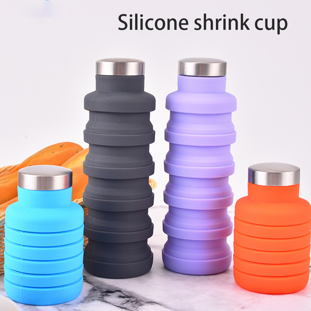 500 ML Foldable Sports Travel Water Bottle Reusable Leakproof Silicone Water Cup