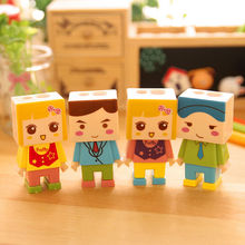 Funny Pupil Cartoon Diy Assembly Child Villain Double Hole Kid Pencil Sharpener With The Eraser Color Random Pencil Knife Gift