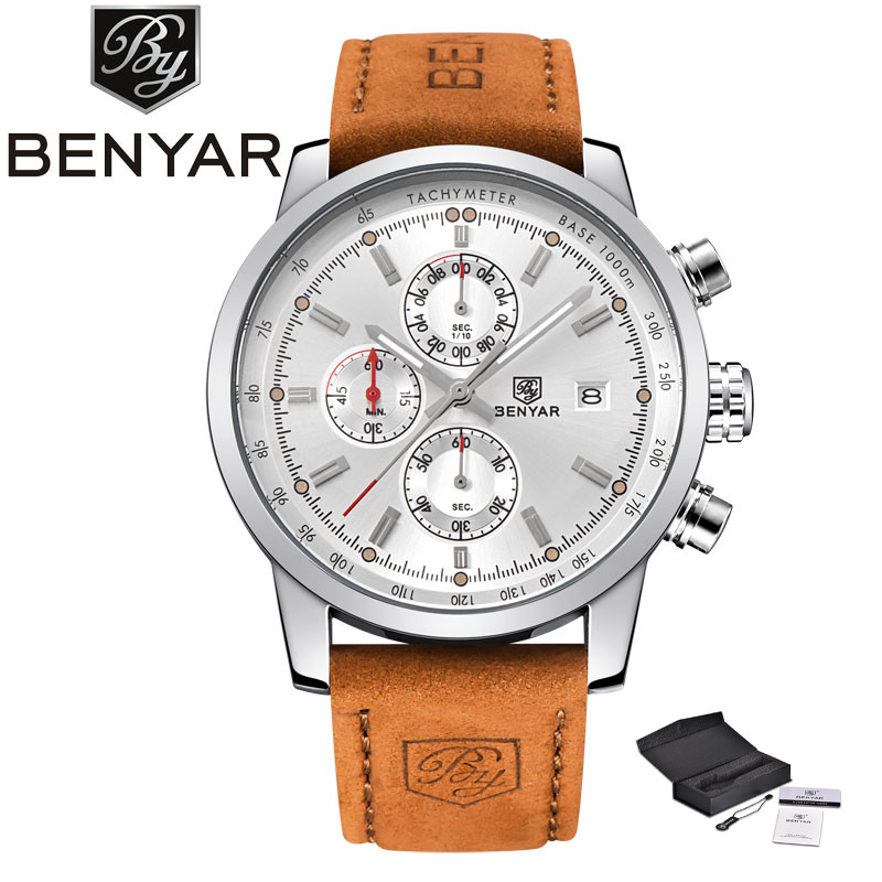 BENYAR Sport Men Chronograph Quartz Wristwatch Military Date Design Dial Genuine Leather Band Outdoor Cool Watch reloj masculino<br>
