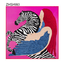 [ZHSHWJ] 100% silk scarf fashion shawl luxury brand Bandana women scarf feather wings zebra silk scarf 130 * 130 cm Hijab(China)