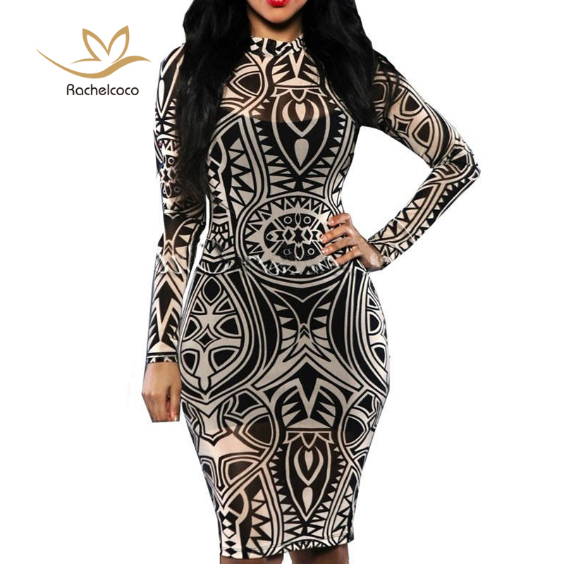 Rachelcoco Autumn Women Sexy Club Dress Plus Size Long Sleeve Turtleneck Digital Printing Sheath Vestidos Female Hot Sale(China)