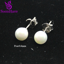 SoonHave Pearl Stud Earrings Sterling Silver 925 Jewelry For Women 6-8-10 mm Round Stud Earring Natural Freshwater Pearl Jewelry(China)