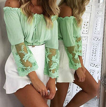 2017 Women Off Shoulder Lace Crop Tops Long Sleeve Shirts Casual Green Blouse Loose