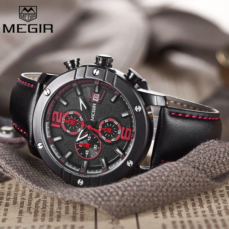 Megir Functoinal Mens Watches Top Brand Luxury Clock Men Military Sport Wristwatch Leather Quartz Watch Relojes Hombre 2017 New<br>