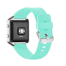 Soft Silicone Rubber Candy Color Sports 23mm Watch Band Wrist Strap for Fitbit Blaze with Metal Buckle I87.