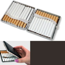 New 1PC Faux Leather Metal Frame Black Cigarette Storage Case Box Container for Lighter