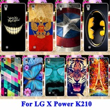AKABEILA Hard PC Cell Phone Cases Covers For LG X Power Shell K210 K220 K220DS XPower Hood Tiger Captain American Batman Painted(China)