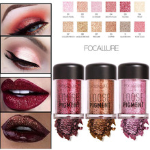 FOCALLURE Pro Makeup Eye Shadow Powder Long Lasting Shimmer Pigments Sexy Nude Glitter Loose Eyeshadow Diamond Lips Comestic(China)