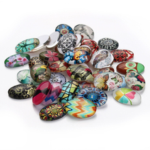 20pcs/lot 13*18mm Mixed Style Oval Glass Cabochons Dome Fit Cameo Base Setting for European Jewelry Embellishment Flatback F2991