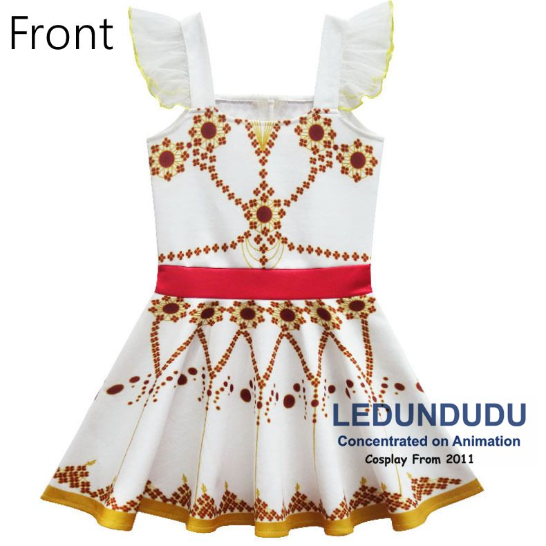 Children\`s White Print Dress Movie Ballerina Cosplay Costume Kid Baby Girl Sleeveless Dress 2 (5)